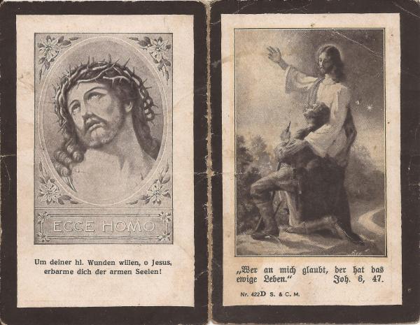 Sterbebild Adreas Strobl (Rückseite)