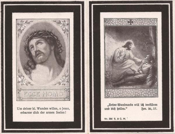 Sterbebild von Jesef Mittermeier (Rückseite)