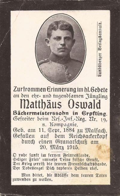 Sterbebild von Matthäus Osswald