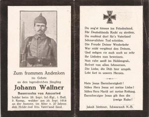 Sterbebild von Johann Wallner