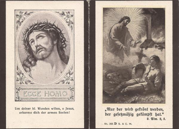 Rückseite des Sterbebildes von Alois Griesmaier