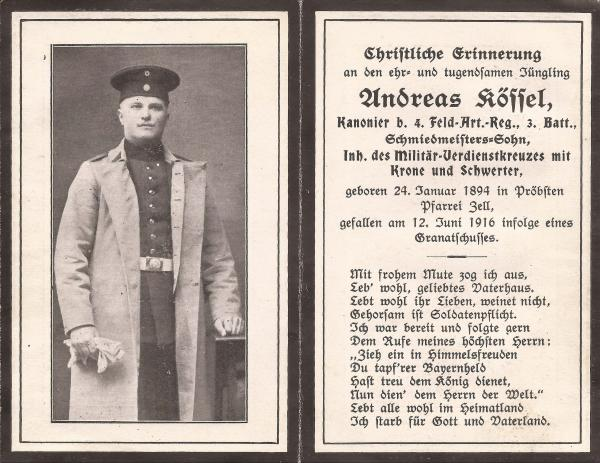 Sterbebild Andreas Kössel (Vorderseite)
