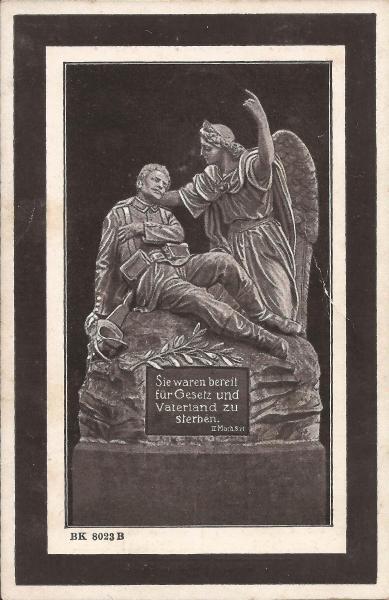 Rückseite des Sterbebildes von Franz Streckfuß