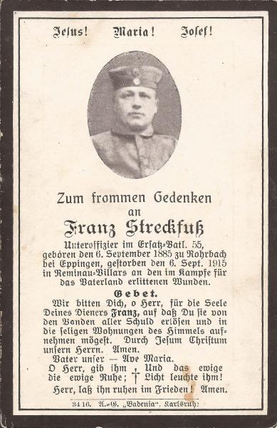 Sterbebild von Franz Streckfuß