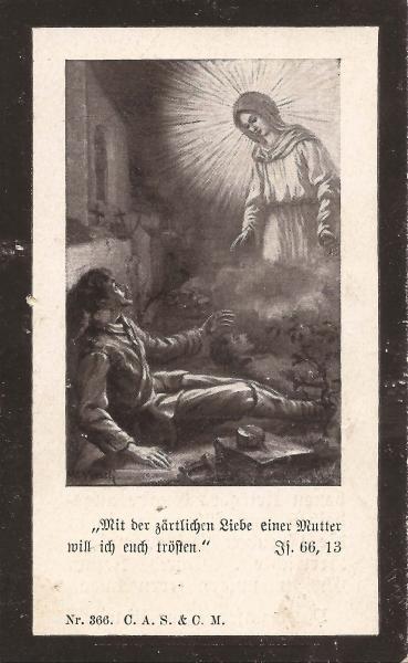 Rückseite des Sterbebildes von Xaver Rädler