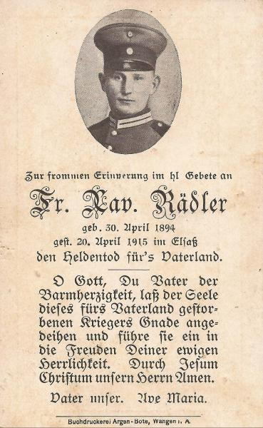 Sterbebild von Xaver Rädler