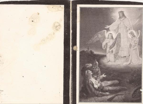 Rückseite des Sterbebildes von Franz Xaver Wisböck