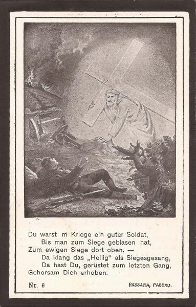 Rückseite des Sterbebildes von Ignaz Wieninger