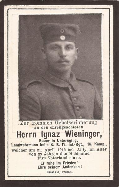 Sterbebild von Ignaz Wieninger