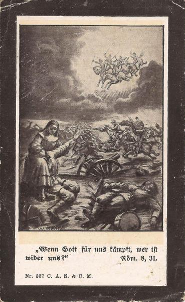 Rückseite des Sterbebildes von Johann Daisenberger