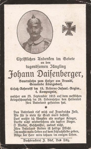 Sterbebild von Johann Daisenberger