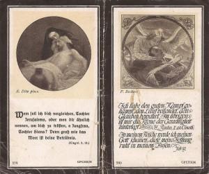 Rückseite des Sterbebildes von Johann Wallner
