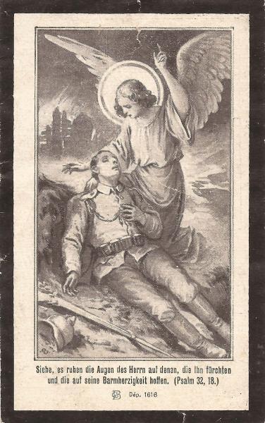 Rückseite des Sterbebildes von Johann Nöbauer