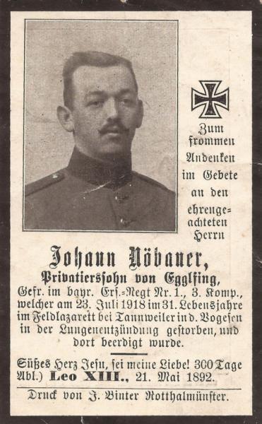 Sterbebild von Johann Nöbauer