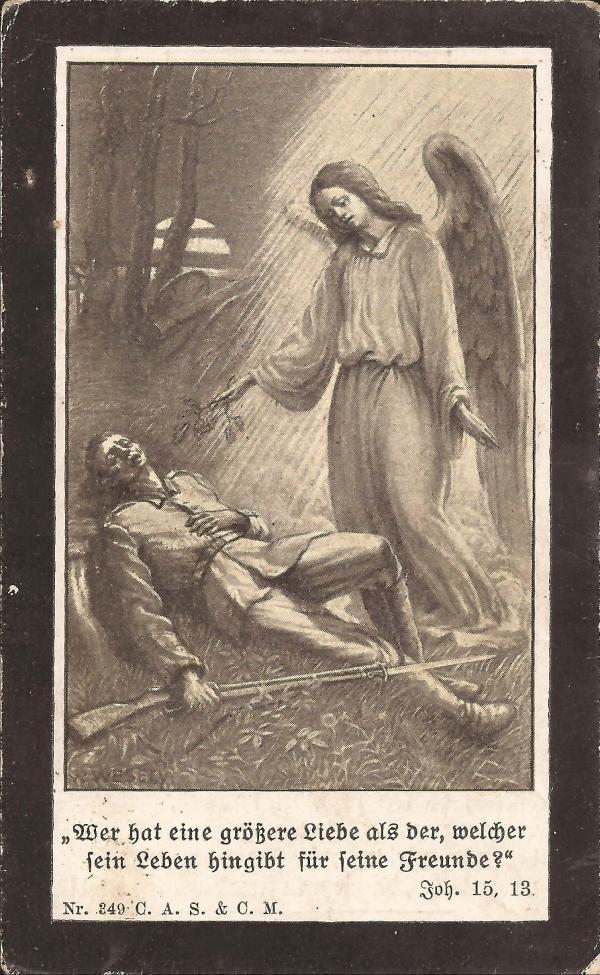 Rückseite des Sterbebildes von Johann Osterkorn
