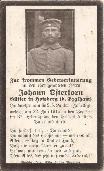 Sterbebild von Johann Osterkorn
