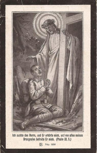 Rückseite des Sterbebildes von Joseph Amann