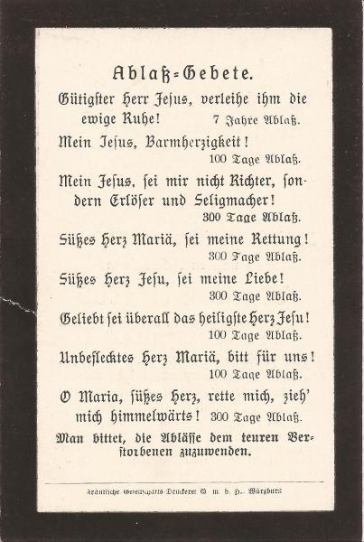 Rückseite des Sterbebildes von Karl Dümler