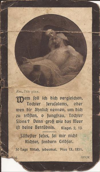 Rückseite des Sterbebildes von Karl Schlund
