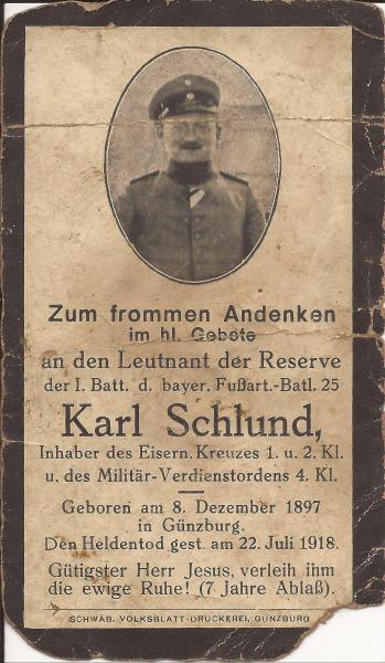 Sterbebild von Karl Schlund