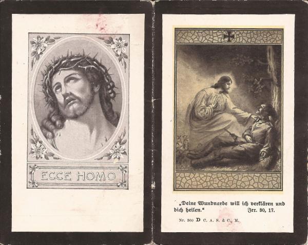 Rückseite des Sterbebildes von Otto Maier