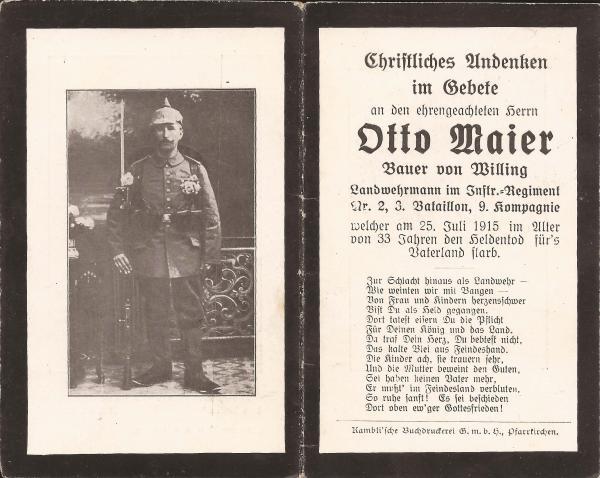 Sterbebild von Otto Maier