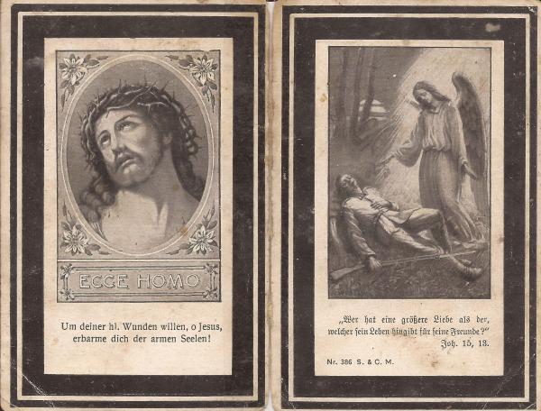 Rückseite des Sterbebildes von Otto Stapfer