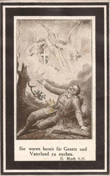 Rückseite des Sterbebildes von Sebastian Wimmer