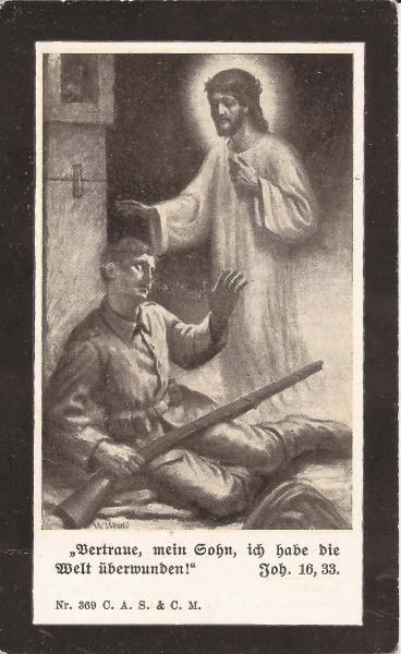 Rückseite des Sterbebildes von Timotheus Lutzenberger
