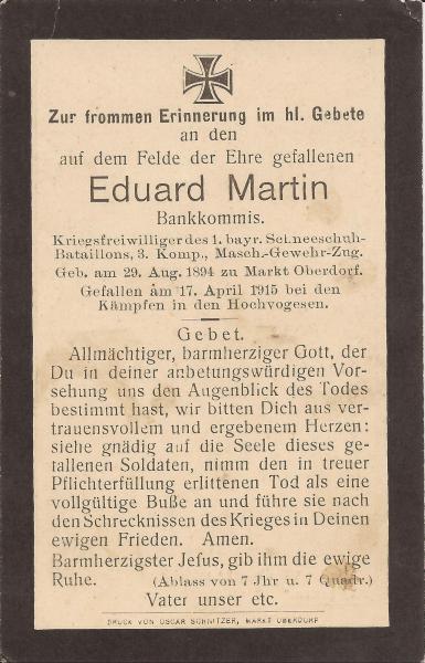 Vorderseite des Sterbebildes von Eduart Martin